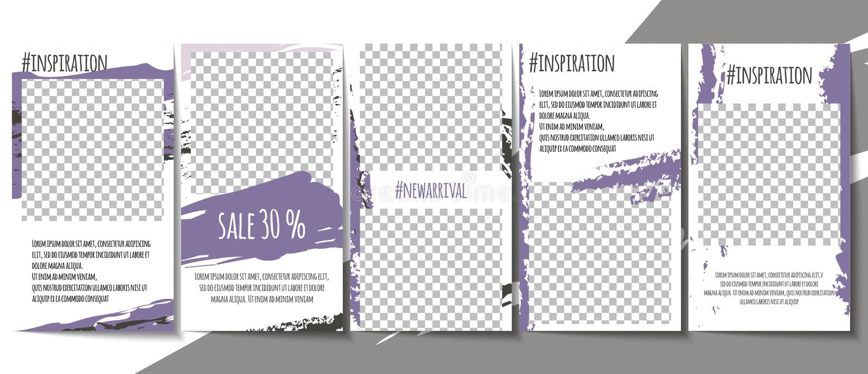 Grupo social editável dos moldes das histórias dos meios Projeto minimalistic simples da marca de escova no tema cor-de-rosa da c ilustração royalty free