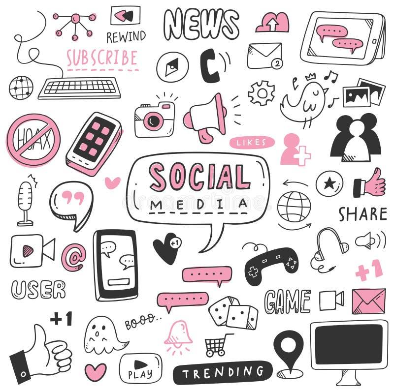 Grupo social tirado m?o da garatuja dos meios ilustração royalty free