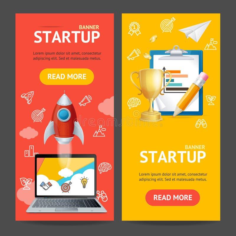 Grupo Startup de Vecrtical da bandeira Vetor ilustração do vetor