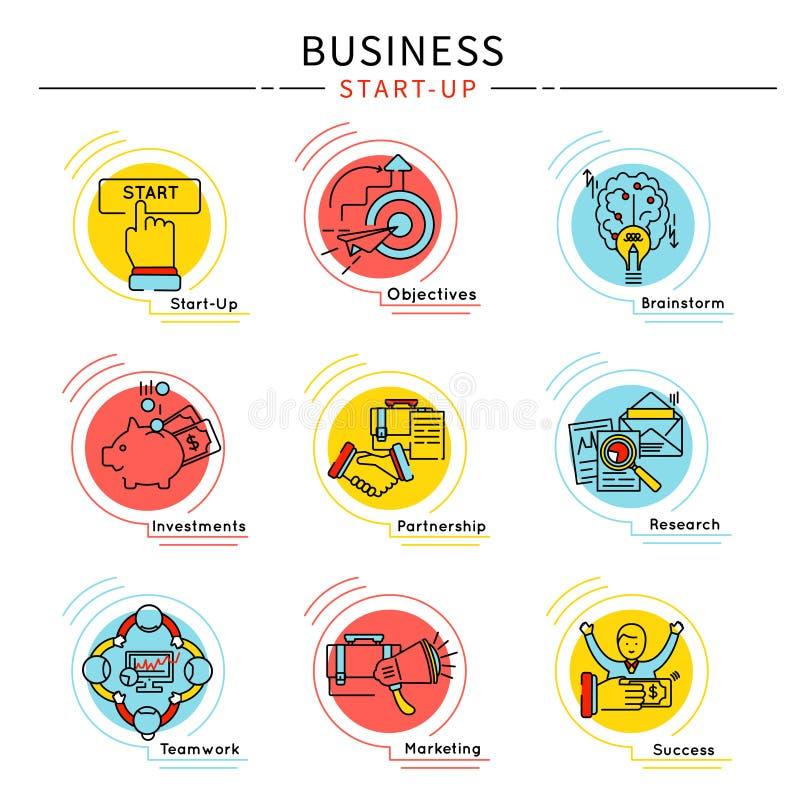 Grupo Startup do ícone do negócio ilustração stock