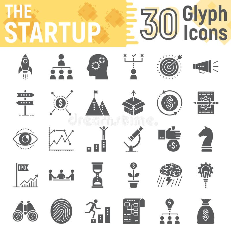 Grupo Startup do ícone do glyph, símbolos do desenvolvimento ilustração royalty free