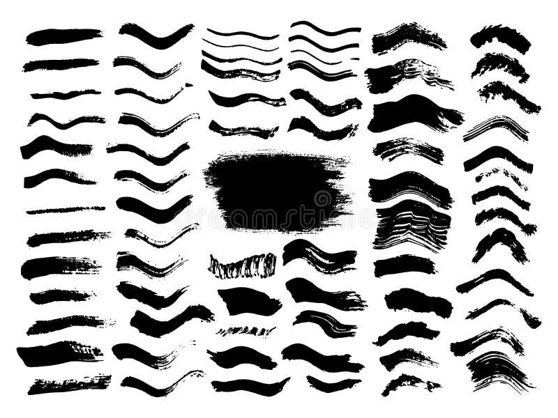 Grupo sujo dos cursos da escova da onda preta Etiquetas do preto, fundo, textura da pintura Tinta tirada mão curvada Grunge ilustração stock