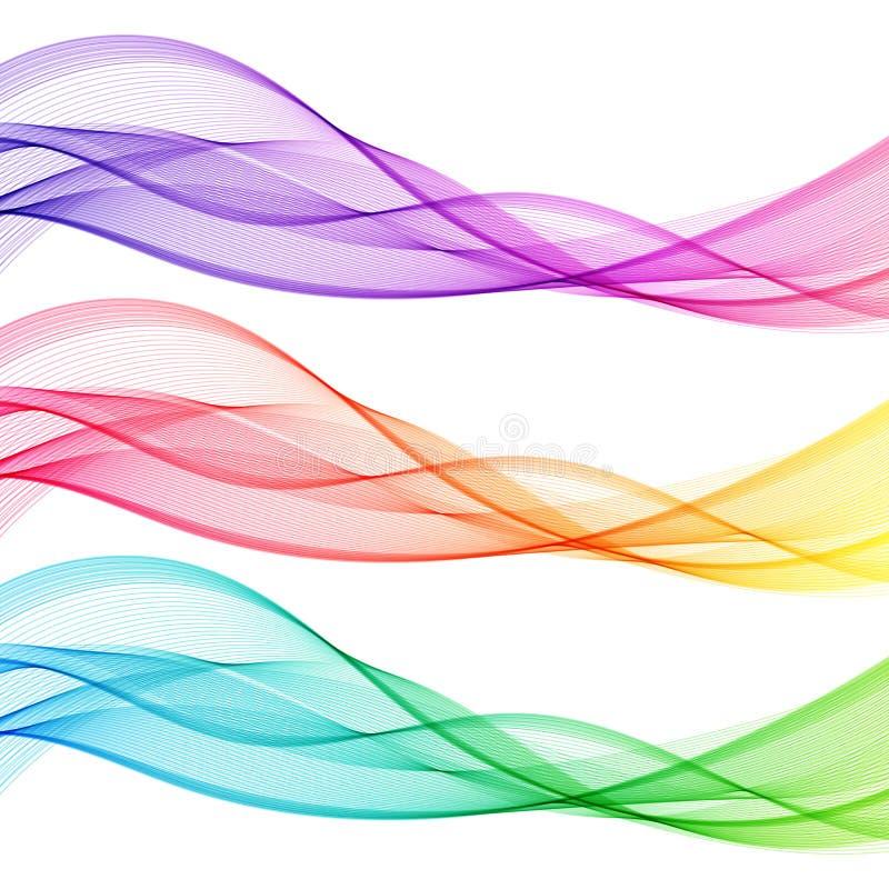 Grupo sumário colorido de linhas transparentes isoladas da onda ilustração stock