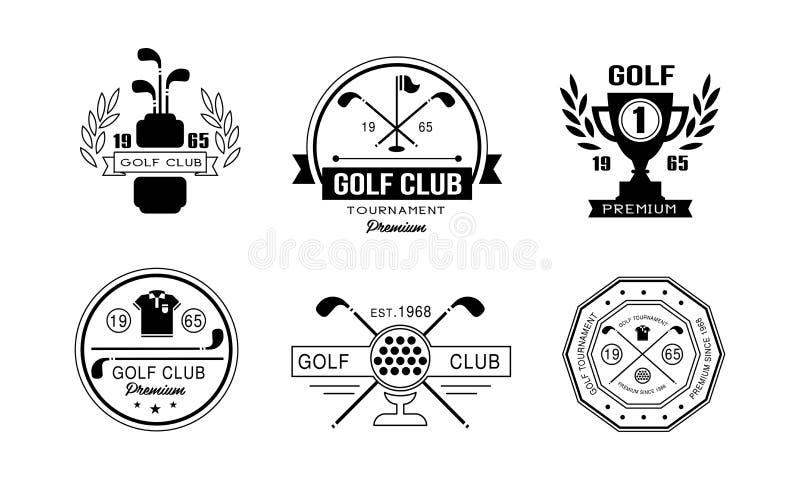 Grupo superior do projeto do logotipo do clube de golfe, crachás retros do clube golfing, competiam do esporte ou vetor das etiqu ilustração stock