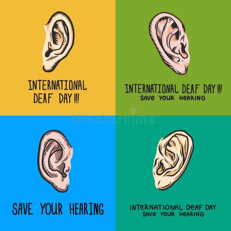 Grupo surdo internacional da bandeira do dia, estilo tirado mão ilustração stock