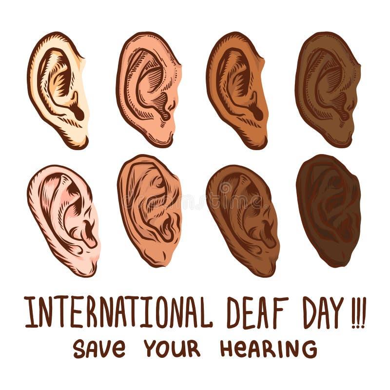 Grupo surdo internacional do ícone do dia, estilo tirado mão ilustração do vetor