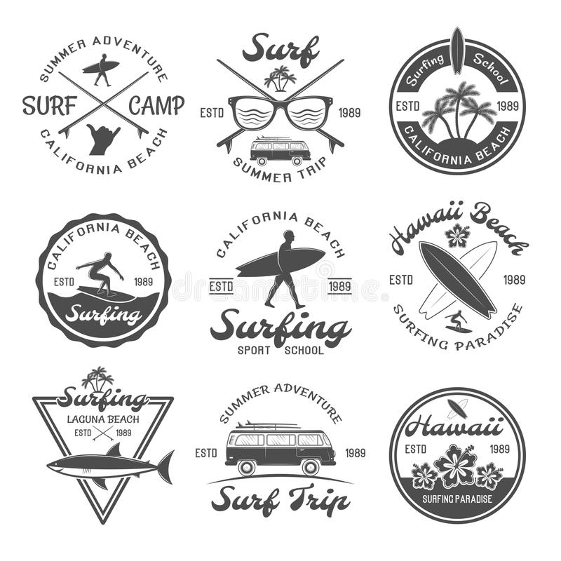 Grupo surfando do emblema ilustração stock
