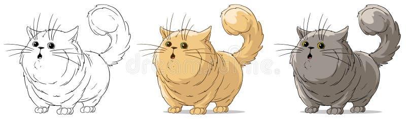 Grupo surpreendido do vetor do gato grande dos desenhos animados posição fresca ilustração stock