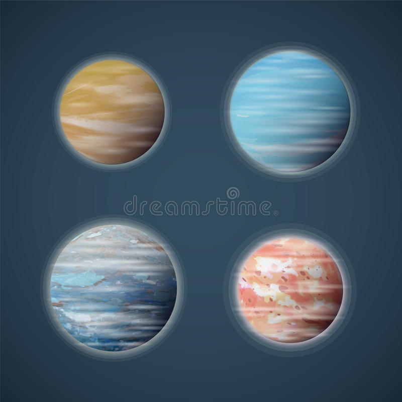 Grupo típico do vetor dos planetas ou dos planetoids do espaço ilustração stock