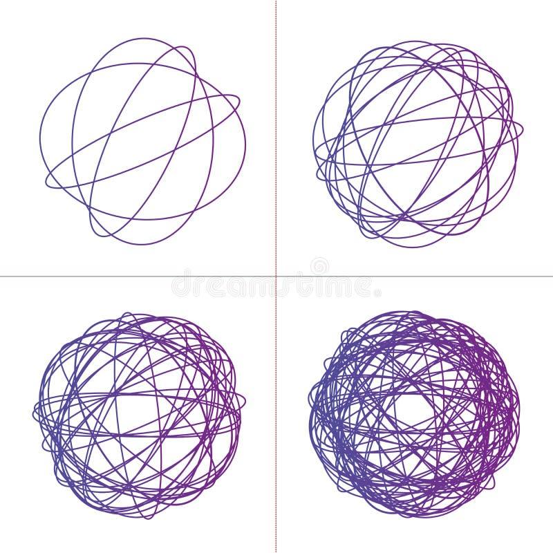 Grupo Tangled do clew do círculo, textura intrincada colorida Círculos tangled coloridos caóticos Listras do caos Ilustração do v fotografia de stock royalty free