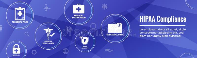 Grupo & texto médicos do ícone de w do encabeçamento da bandeira da Web da conformidade de HIPPA ilustração do vetor