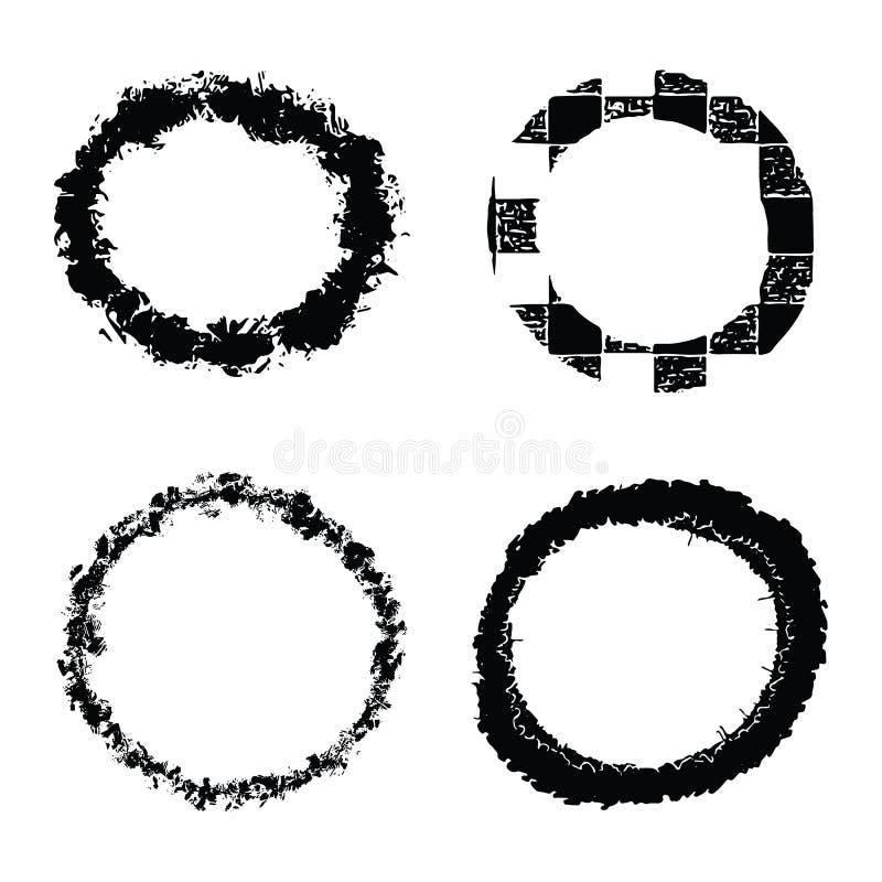 Grupo textured dos círculos da tinta orgânica do grunge do vetor Elementos wonky abstratos do laço do curso da escova ilustração stock