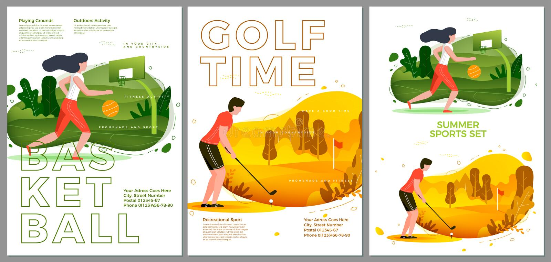 Grupo tipográfico do verão do vetor - basquetebol, golfe ilustração do vetor
