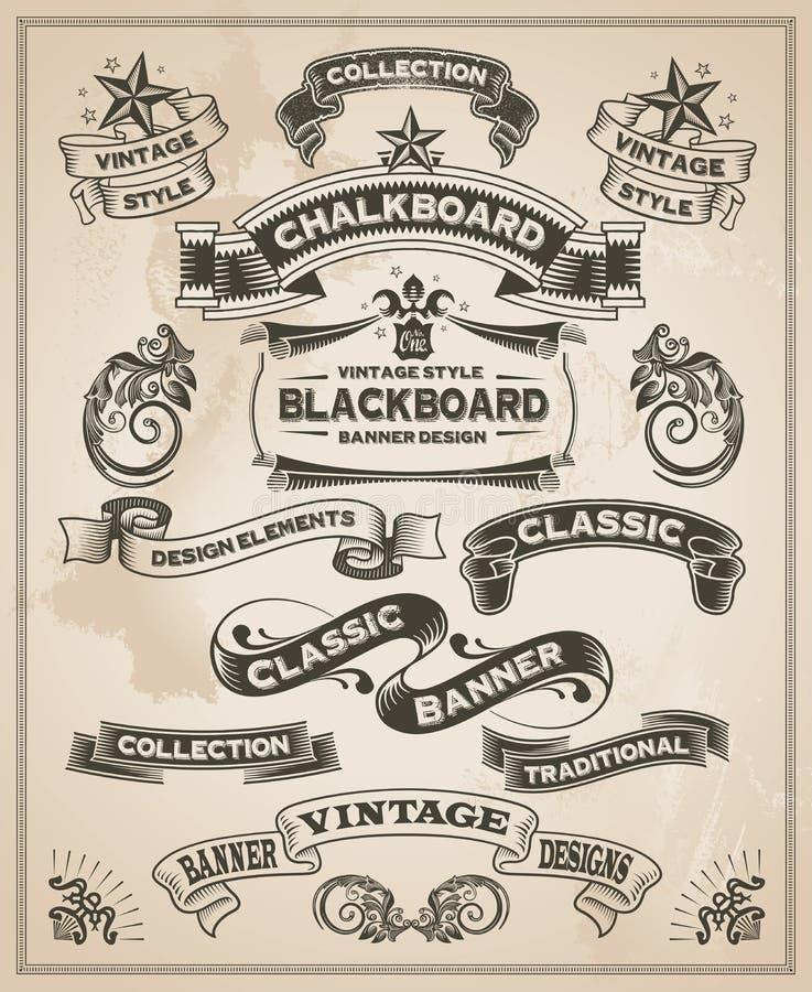 Grupo tirado da bandeira do vintage mão retro ilustração stock