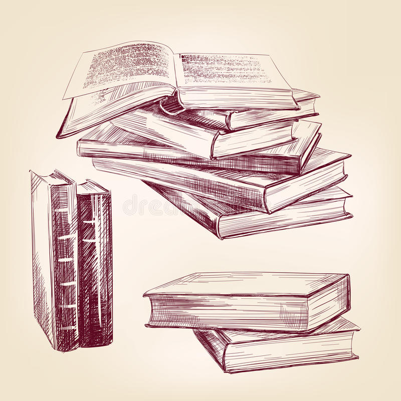 Grupo tirado da mão de livros velhos do vintage ilustração royalty free