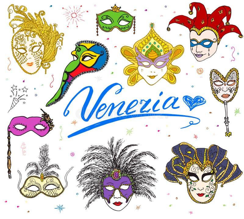 Grupo tirado das máscaras do carnaval do esboço de Veneza Itália mão venetian Coleção de tiragem da garatuja isolada ilustração royalty free