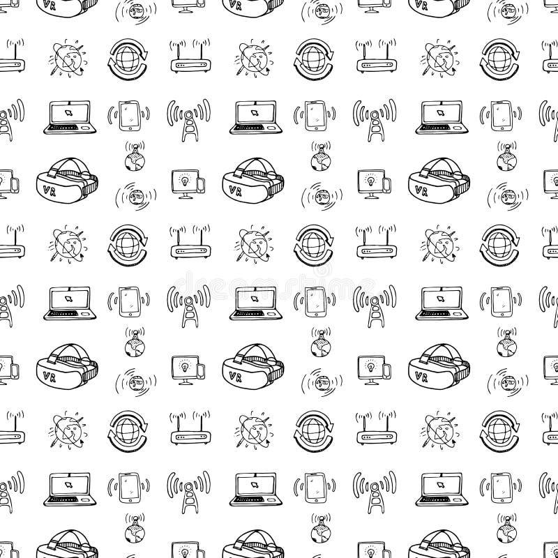 Grupo tirado das tecnologias do teste padrão mão sem emenda Sketc do preto da garatuja ilustração stock