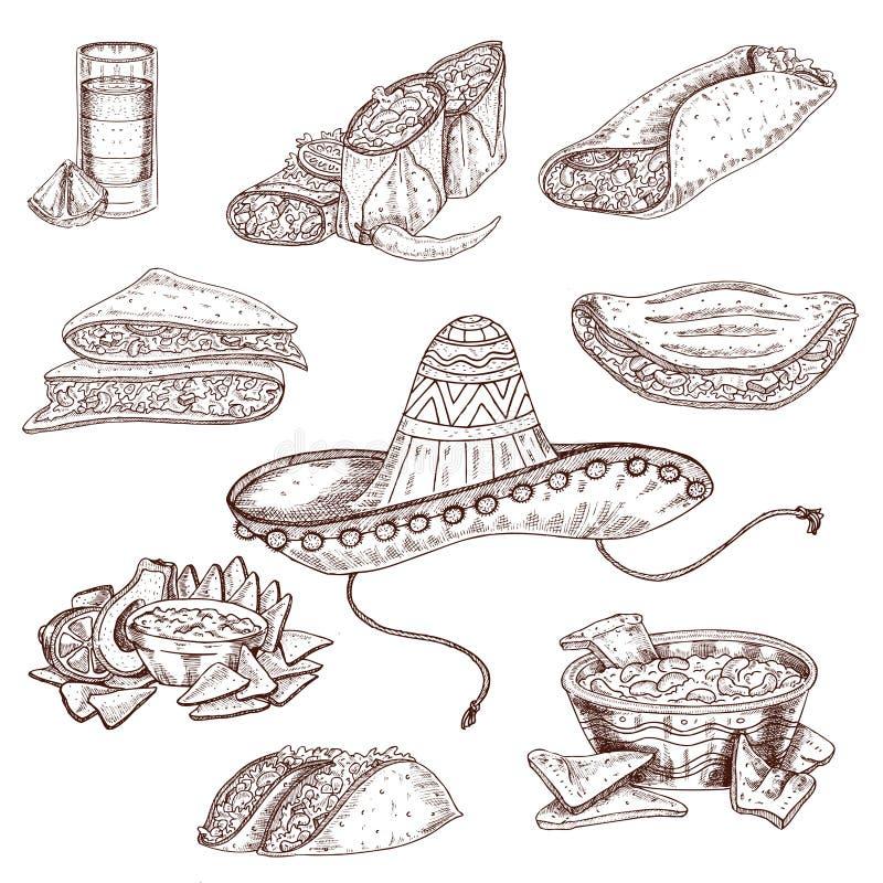 Grupo tirado do alimento mão mexicana ilustração royalty free