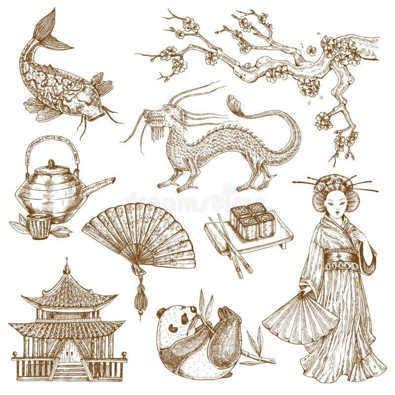 Grupo tirado dos elementos mão asiática ilustração stock