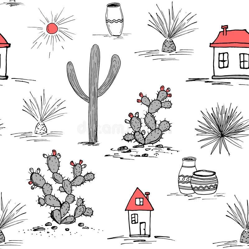 Grupo tirado mão com cacto verde e as casas mexicanas Saguaro, agave azul, sol, casas, e frascos Latino-americano ilustração do vetor