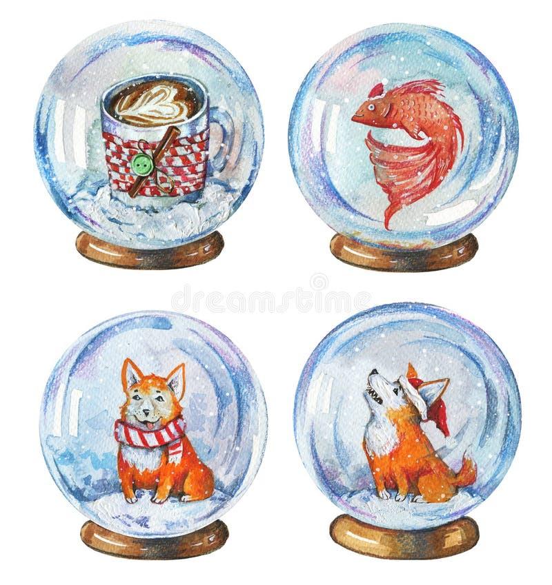 Grupo tirado mão da aquarela de ilustrações da caneca de café do witn dos globos da neve, dos peixes e dos cães do corgi ilustração do vetor