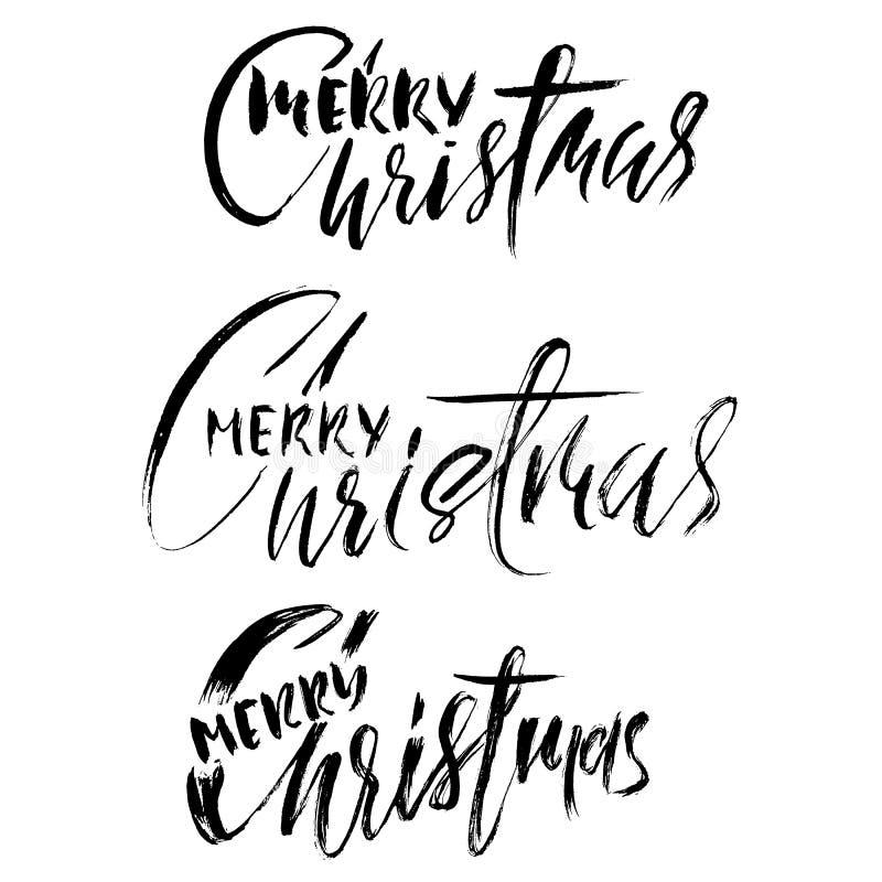 Grupo tirado mão da caligrafia Feliz Natal Moderno seque o projeto de rotulação da escova para cartazes, cartões, convites, etiqu ilustração do vetor
