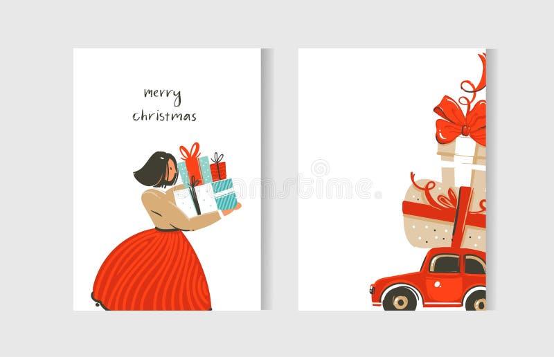 Grupo tirado mão da coleção dos cartões dos desenhos animados do tempo do Feliz Natal do divertimento do sumário do vetor com ilu ilustração stock