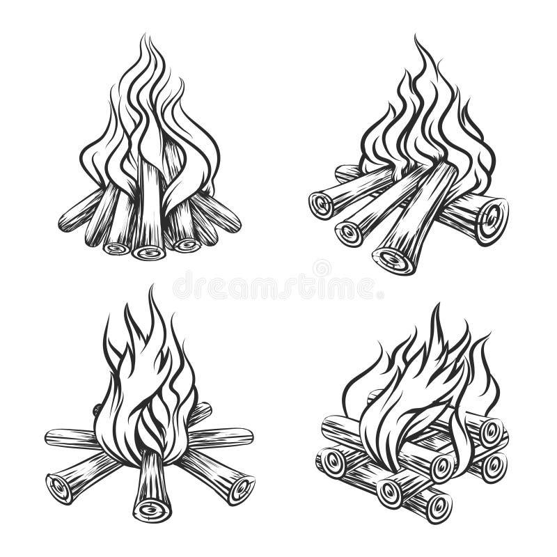 Grupo tirado mão da fogueira do vetor ilustração royalty free