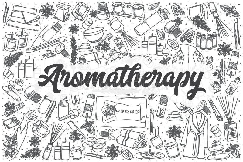 Grupo tirado mão da garatuja do vetor da aromaterapia ilustração royalty free