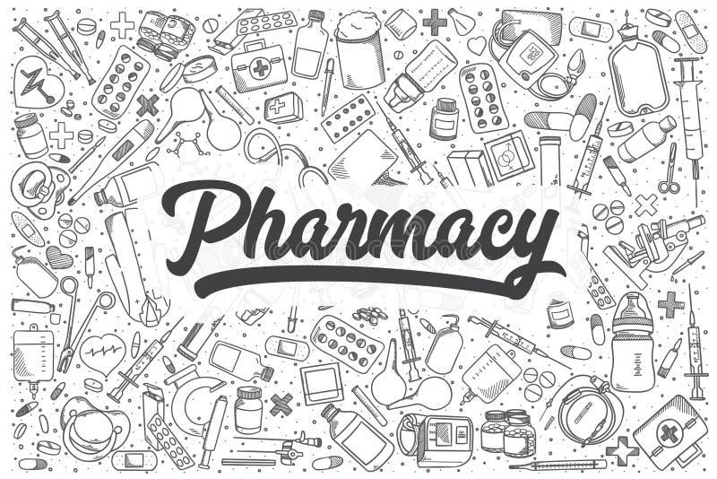 Grupo tirado mão da garatuja do vetor da farmácia ilustração royalty free