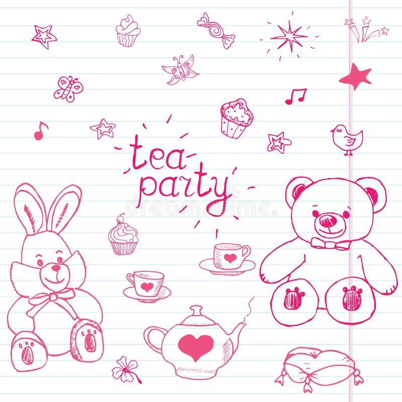 Grupo tirado mão da ilustração do vetor de tea party com brinquedos, o potenciômetro do chá, os copos, as panquecas, os pássaros  ilustração royalty free