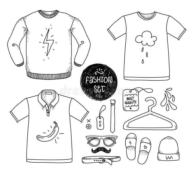 Grupo tirado mão da roupa T-shirt vazio, polo ilustração royalty free