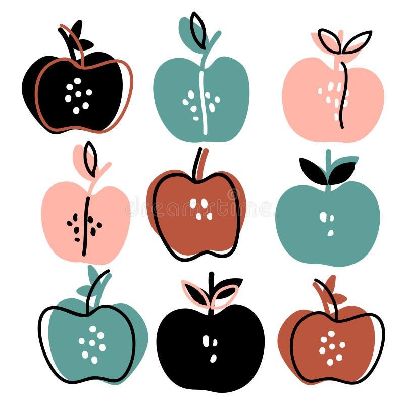 Grupo tirado mão das maçãs ilustração stock
