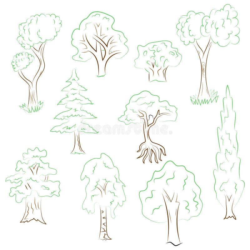 Grupo tirado mão de árvores Desenhos da garatuja do abeto verde, Cypress, vidoeiro, carvalho no estilo do esboço ilustração stock