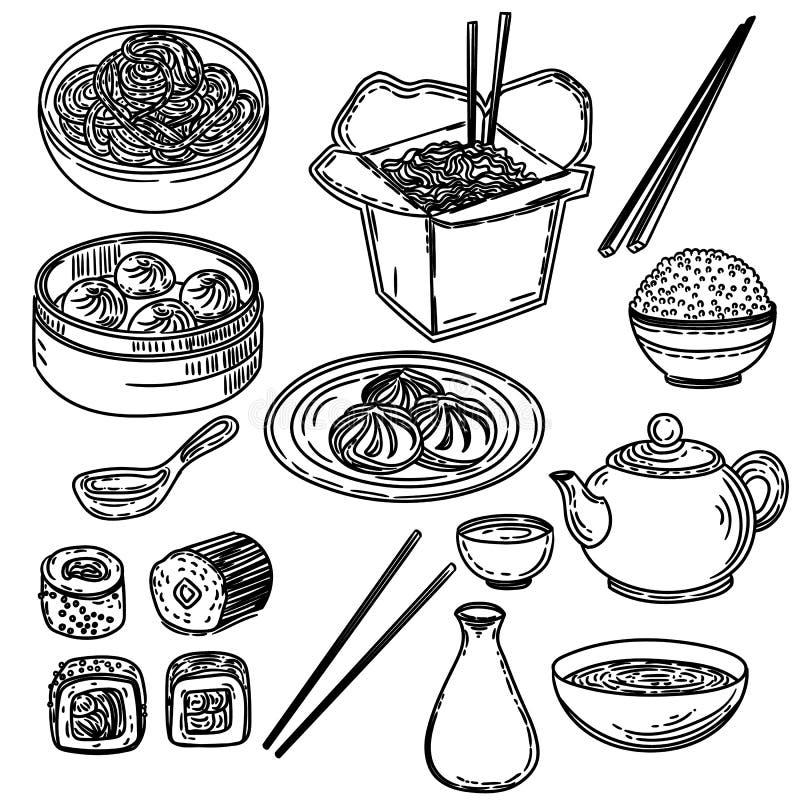 Grupo tirado mão de alimento asiático isolado no fundo branco ilustração stock