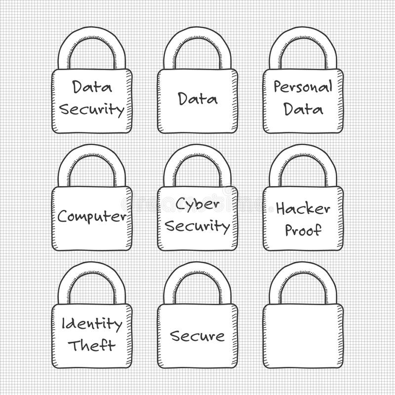 Grupo tirado mão de cadeado com um tema da segurança de dados imagem de stock