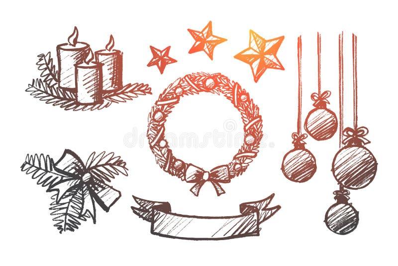 Grupo tirado mão de elementos da decoração do Natal ilustração stock