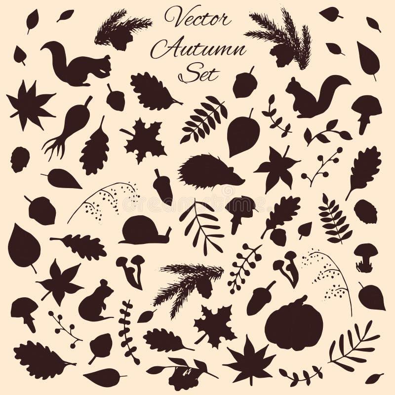 Grupo tirado mão de elementos do outono do vetor e de silhuetas dos animais ilustração do vetor