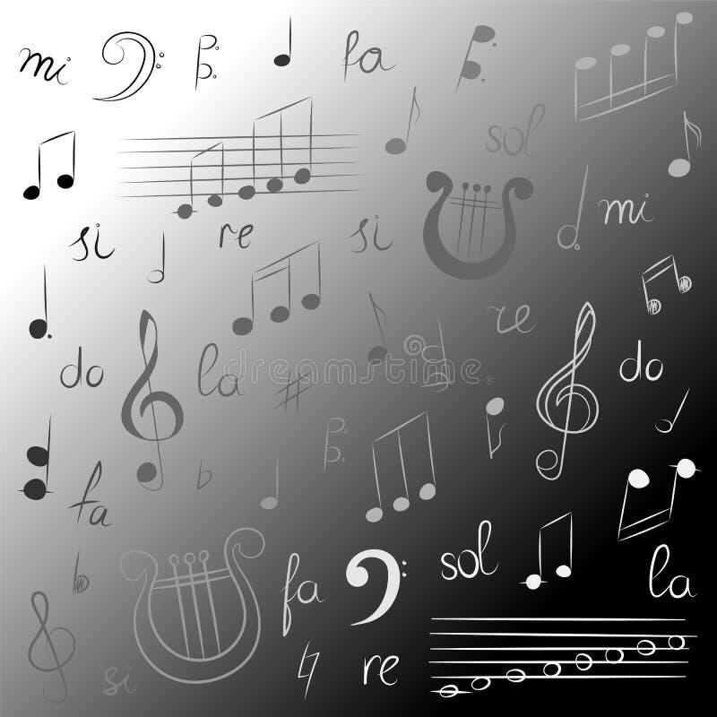 Grupo tirado mão de símbolos de música Clave de sol, Bass Clef, notas e lira monocromáticos da garatuja Estilo do esboço ilustração royalty free