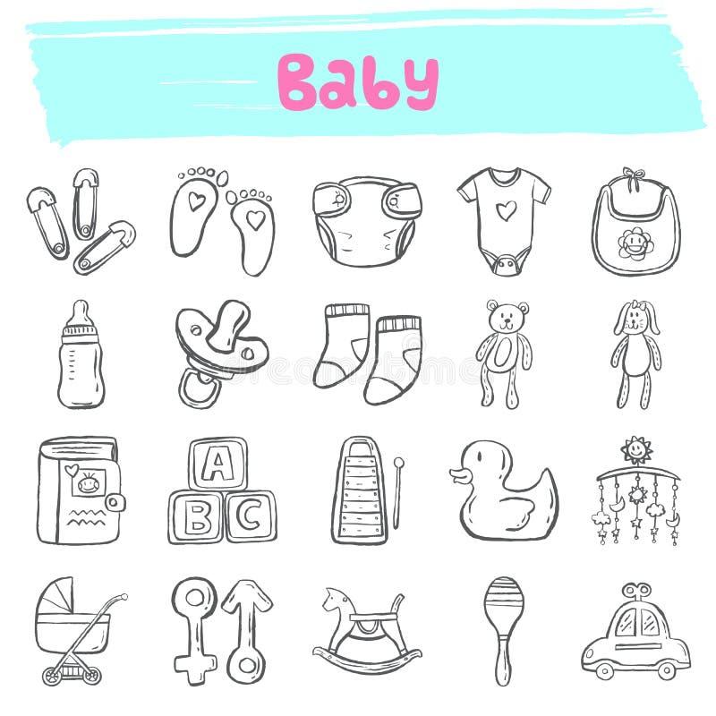 Grupo tirado mão do ícone da garatuja do bebê ilustração do vetor