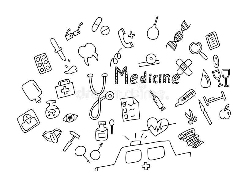 Grupo tirado mão do ícone da medicina Cuidados médicos médicos, ícones da garatuja da farmácia ilustração royalty free