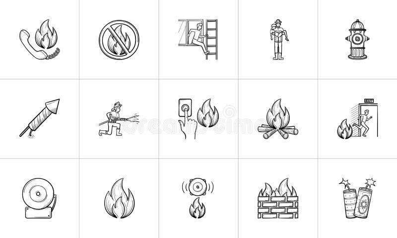 Grupo tirado mão do ícone do esboço do fogo ilustração stock