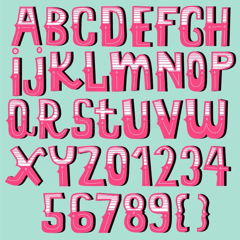 Grupo tirado mão do alfabeto do vintage ilustração do vetor