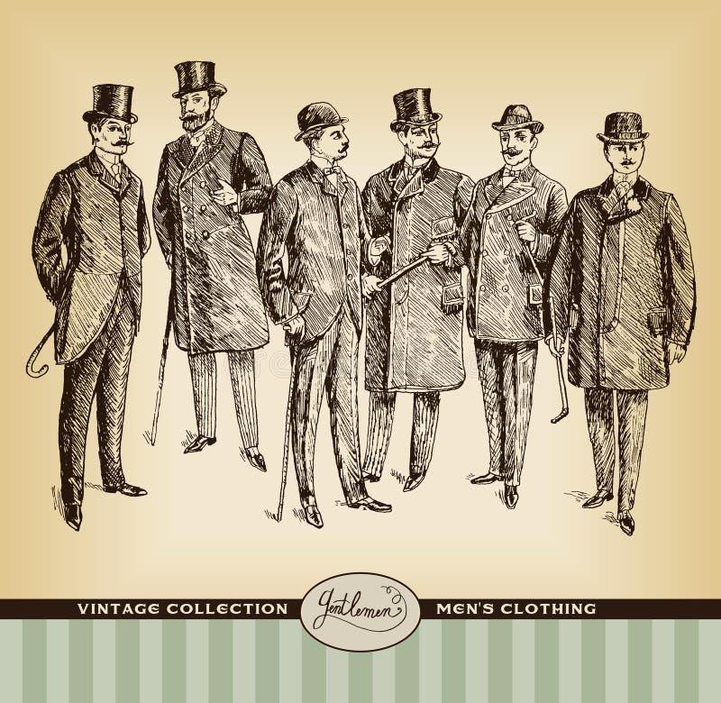 Grupo tirado mão do cavalheiro do vintage ilustração do vetor