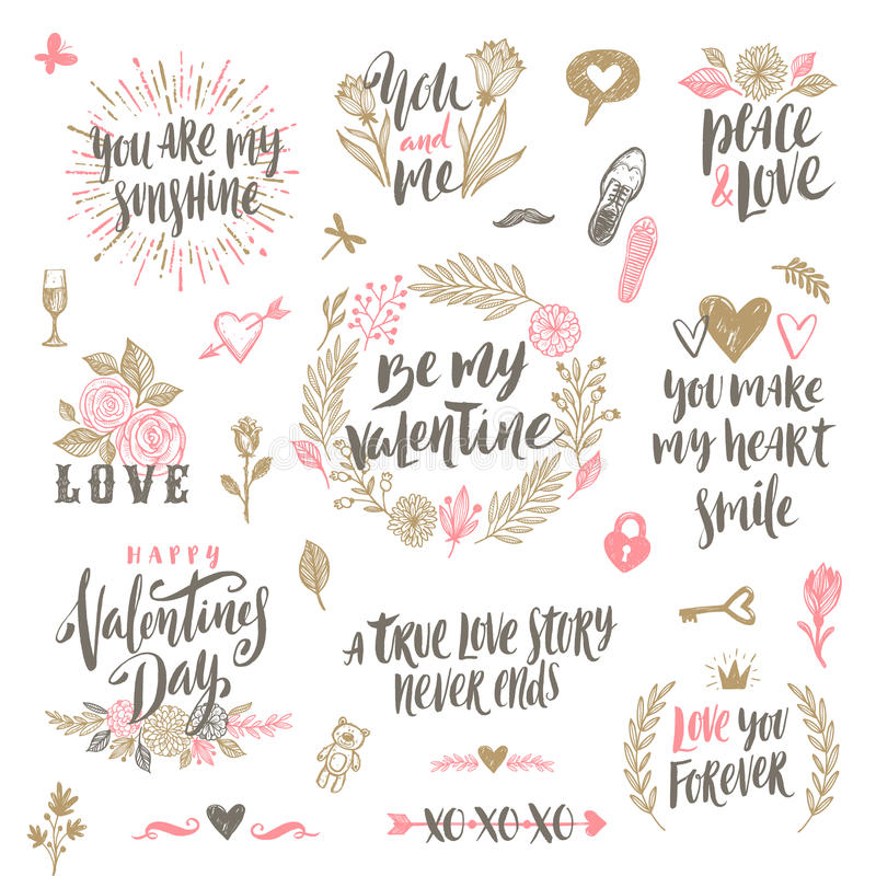 Grupo tirado mão do dia do ` s do Valentim ilustração do vetor