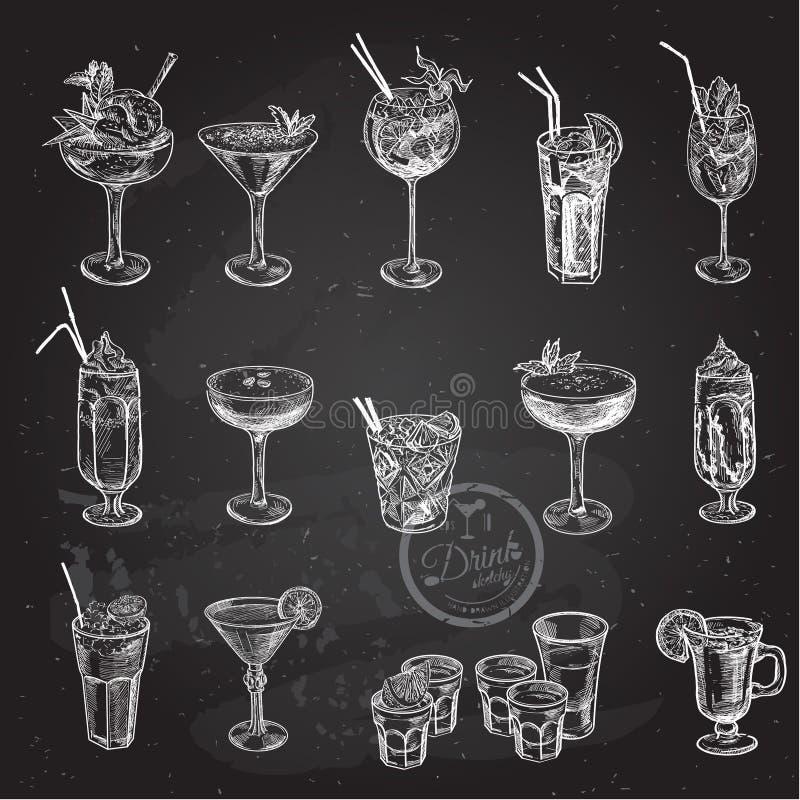 Grupo tirado mão do esboço de cocktail alcoólicos Ilustração do vetor