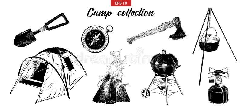 Grupo tirado mão do esboço de elementos de acampamento isolados no fundo branco ilustração do vetor