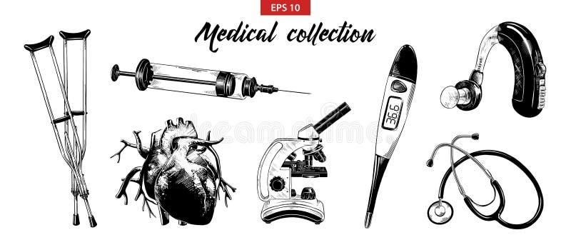 Grupo tirado mão do esboço de equipamento médico e de elementos isolados no fundo branco Desenho detalhado gravura a água-forte d ilustração do vetor