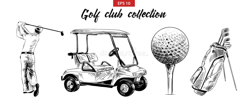 Grupo tirado mão do esboço de saco de golfe, de carro, de bola e de jogador de golfe no preto isolados no fundo branco Desenho de ilustração do vetor
