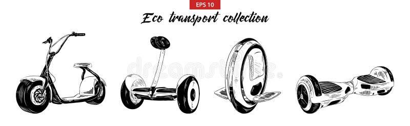 Grupo tirado mão do esboço de 'trotinette', de gyroboard, de gyroscooter elétrico e de mono-roda isolados no fundo branco Vintage ilustração do vetor